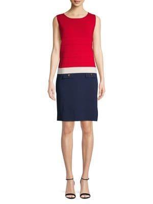 Anne Klein Colorblock Coloum Dress
