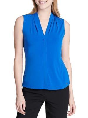 Calvin Klein Petite Ruched Sleeveless Jersey Top