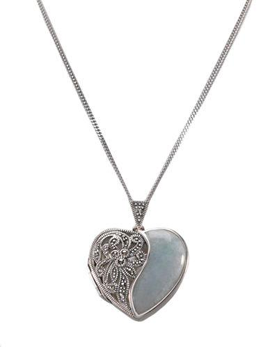 Lord & Taylor Sterling Silver And Marcasite Jade Heart Locket