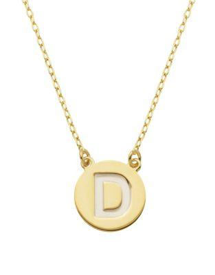 Lord & Taylor Sterling Silver D Pendant Necklace