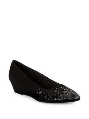 Anne Klein Ellery Embellished Suede Wedge Heels