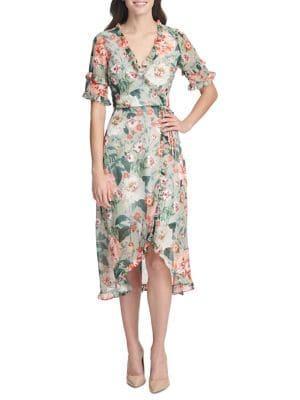 Kensie Dresses Floral Midi Wrap Dress