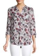 Ivanka Trump Floral Tie-sleeve Blouse