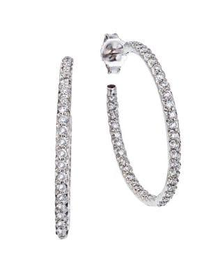 Roberto Coin 0.8 Tcw Diamond & 18k White Gold Medium Hoop Earrings