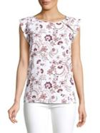 Lord & Taylor Floral Flutter-sleeve Top