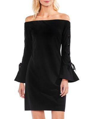 Vince Camuto Lace-up Sleeve Off Shoulder Crepe Ponte Dress