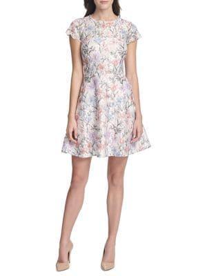 Kensie Dresses Floral Short-sleeve A-line Dress
