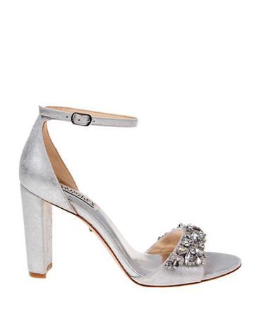 Badgley Mischka Barby Rhinestone Metallic Leather High Heels