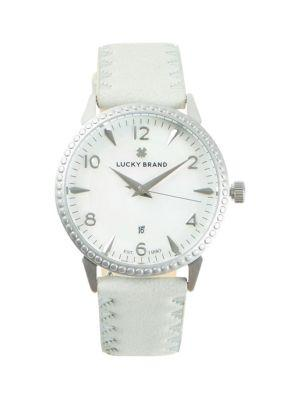 Lucky Brand Torrey Stainless Steel & Leather-strap Watch