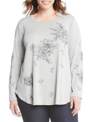Karen Kane Plus Plus Plus Printed Long-sleeve Top