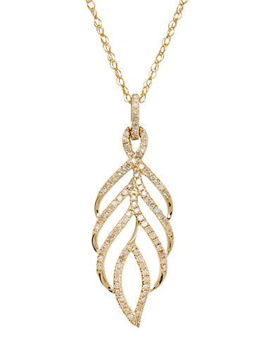 Lord & Taylor 14kt Yellow Gold And Diamond Leaf Pendant Necklace