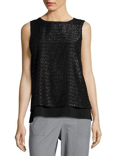 Calvin Klein Metallic Fringed Sleeveless Top
