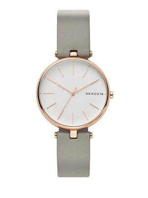 Skagen Signatur T-bar Leather-strap Watch