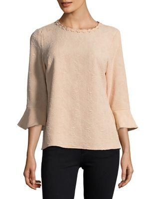 Karl Lagerfeld Paris Textured Bell-sleeve Top