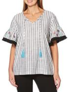 Rafaella Embroidered Striped Top