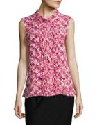 Karl Lagerfeld Paris Pintucked Floral Blouse