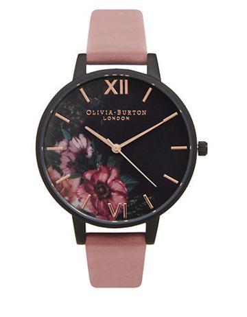 Olivia Burton After Dark Stainless Steel & Leather-strap Watch