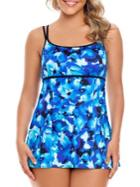 Longitude Printed Double-strap Swimdress