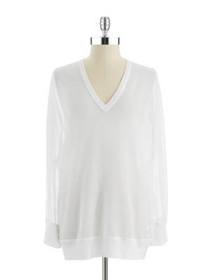 Dknyc Sheer V-neck Top