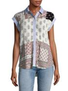 Lord & Taylor Plus Capsleeve Patchwork Button-down Shirt