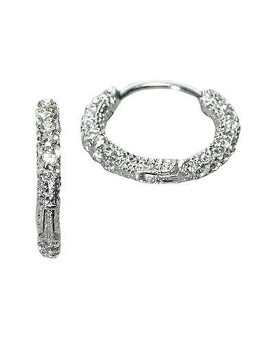 Nadri Silvertone Small Crystal Pav Hoop Earrings
