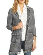 Cece Tweed Frayed Jacket