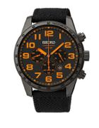 Seiko Mens Black Stainless Steel Chronograph Watch