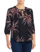 Melissa Mccarthy Seven7 Plus Leaf-printed Top