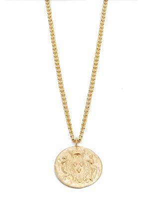 Kenneth Jay Lane Gold Coin Pendant Necklace