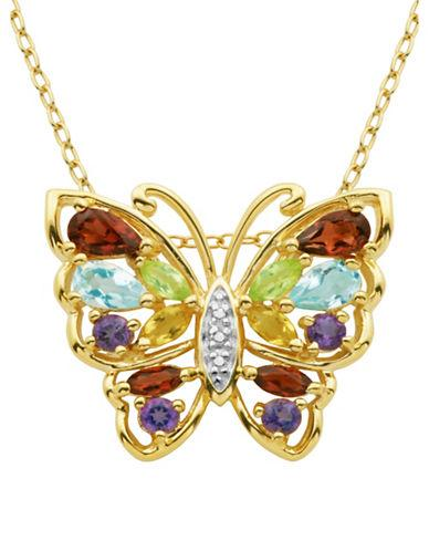 Lord & Taylor Multi-stone Butterfly Pendant Necklace