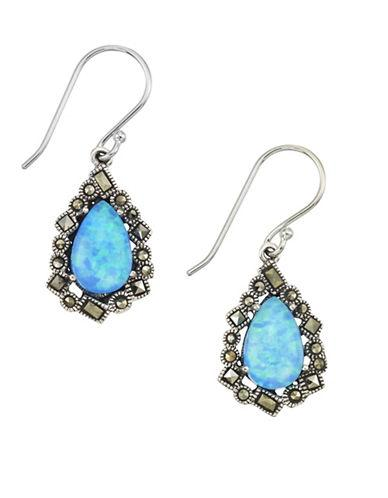 Lord & Taylor Opal And Sterling Silver Drop Earrings