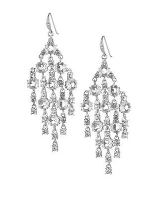 Carolee Crystal Abbey Crystal Hex Chandelier Earrings