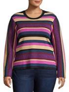 Rachel Rachel Roy Plus Veda Striped Long Sleeve Top