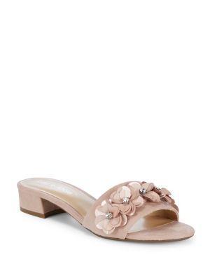 Lexi And Abbie Floral-applique Slip-on Sandals