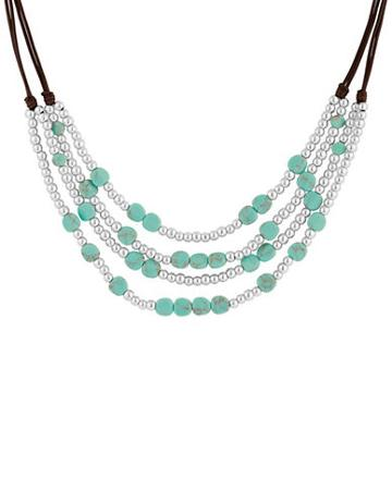Lucky Brand Key Items Semi-precious Reconstituted Calcite And Rock Crystal Silvertone Turquoise Beaded Collar Necklace