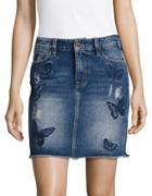 Buffalo David Bitton Butterfly Embroidered Distressed Denim Skirt