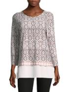 Ivanka Trump Tile-print Hi-lo Top