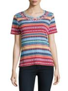 Rafaella Petites Roundneck Striped Print Top