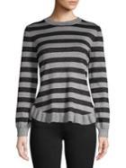 Ivanka Trump Striped Ruffle Sweater