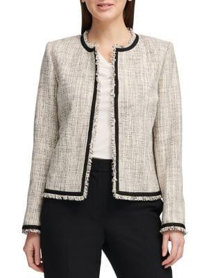 Donna Karan Frayed Tweed Jacket