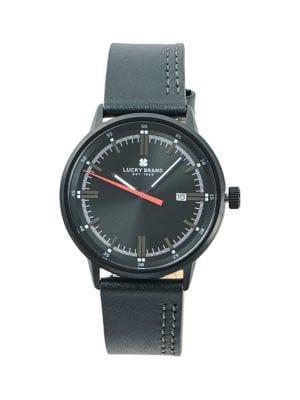 Lucky Brand Fairfax Side Stitch Stainless Steel & Leather-strap Watch