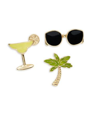 Design Lab Lord & Taylor Sunglasses, Palm And Margarita Pin Set