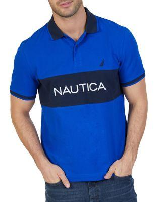 Nautica Contrast Print Cotton Polo