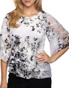 Alex Evenings Plus Printed Chiffon Tiered Blouse