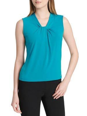 Calvin Klein Petite Sleeveless Knotted Jersey Top