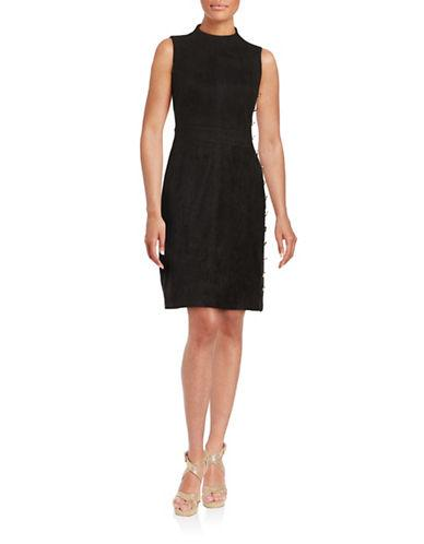 Karl Lagerfeld Paris Suede-accented Sheath Dress
