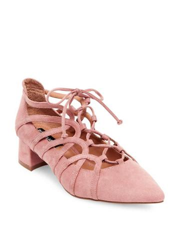 Design Lab Lord & Taylor Faux Suede Lace-up Heels