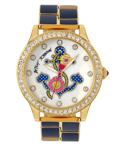 Betsey Johnson Goldtone Stainless Steel Crystal Accented Bracelet Watch