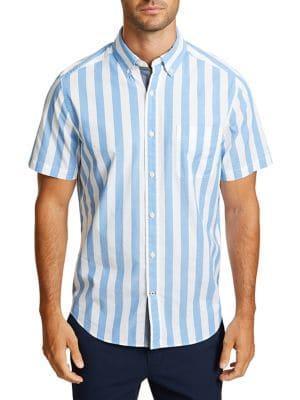 Nautica Striped Short-sleeve Classic-fit Button-down Shirt