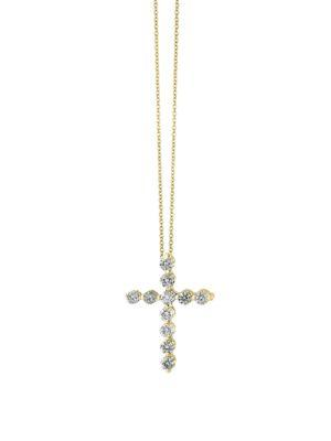 Effy D'oro 14k Gold Diamond Cross Pendant Necklace, 0.49 Tcw